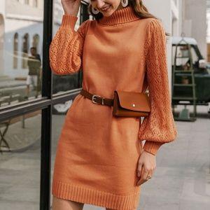 Turtleneck knit sweater dress fall autumn comfy